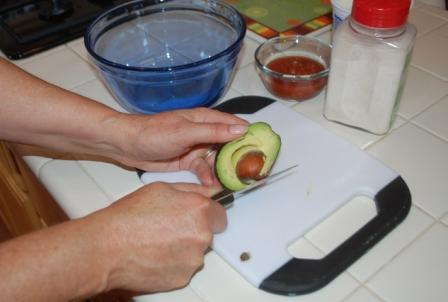Removing pit from avocado
