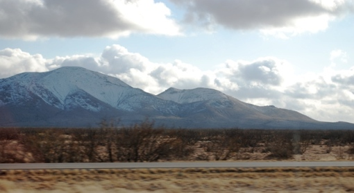snow on southwestern mountains