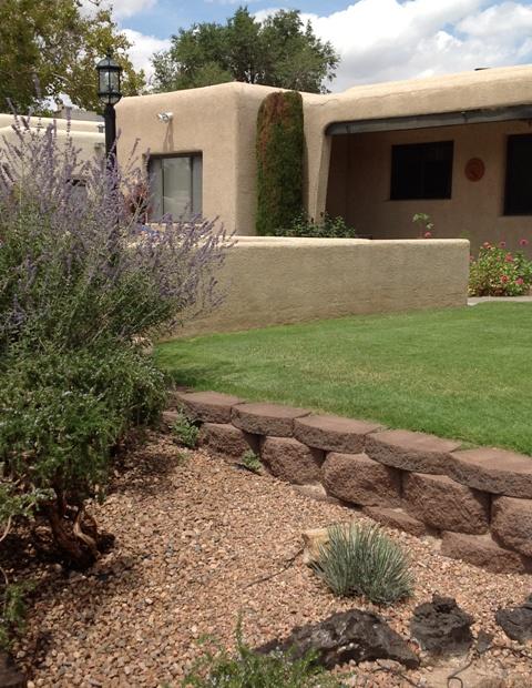 terraced lawn to prevent sprinkler runoff