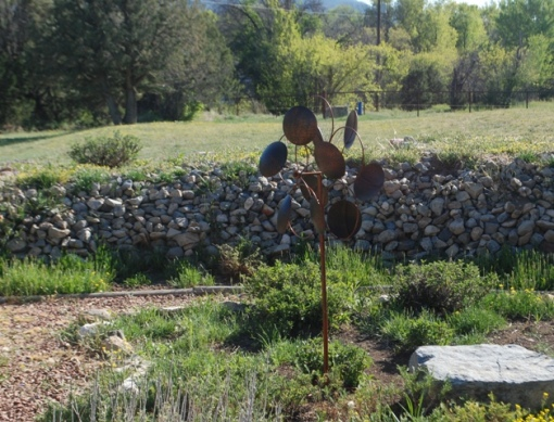 wind spinner in New Mexico garden