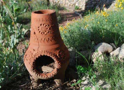 mini-chiminea in garden